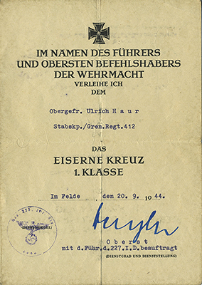 Typical document for the Iron Cross 1st Class
