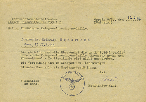 "German document for the ""Crusade Against Communism Medal"""