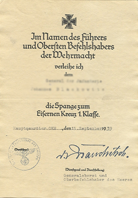 Document for the 1939 clasp to the Iron Cross 1st class
