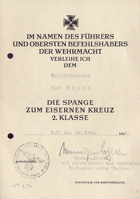 Document for the 1939 clasp to the Iron Cross 2nd class